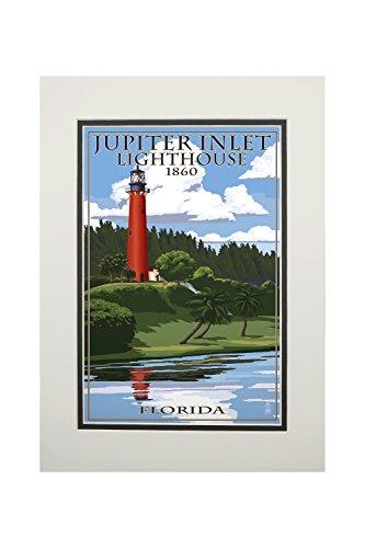 Jupiter Inlet Lighthouse - Jupiter, Florida - Jupiter Inlet Lighthouse (11x14 Double-Matted Art Print, Wall Decor Ready to Frame)