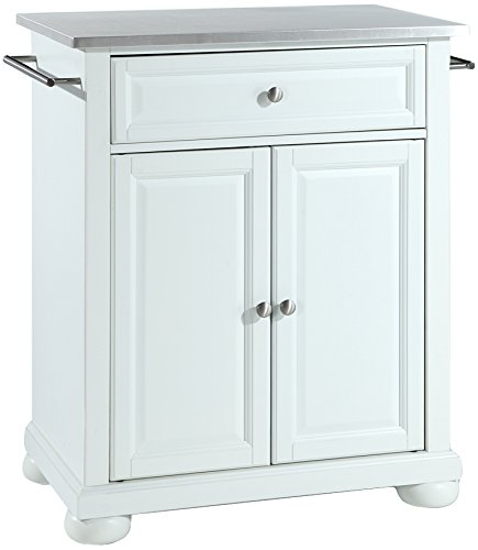 Crosley Furniture Alexandria Cuisine Kitchen Island with Stainless Steel Top - White