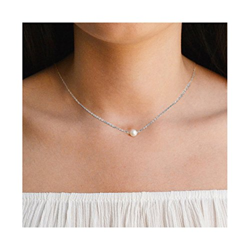 White Pearl Thin - Freshwater Pearl Silver Choker Necklace-Thin 925 Sterling Silver Bead Chain Birthstone Necklace Choker for Women