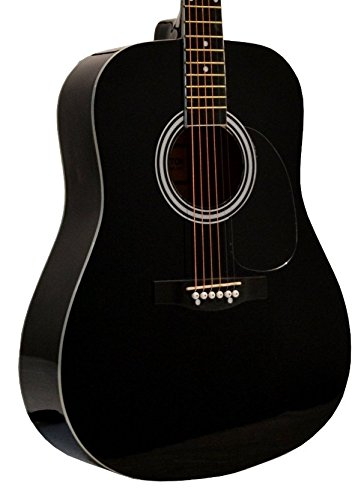 41″ Inch Full Size Black Handcrafted Steel String Dreadnought Acoustic Guitar & DirectlyCheap(TM) Translucent Blue Medium Guitar Pick (PRO-1 Series)