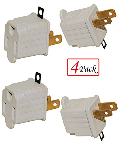 125v Hand Adapter - (Set of 4) Outlet/Plug Adapters, 125 Volt, 3 Prong to 2 Prong Grounded Electrical Adapter