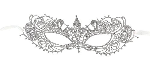 AbbyLexi Women's Pretty Lace Masquerade Halloween Party Eye Mask, Silver (Accessory Halloween Masquerade)