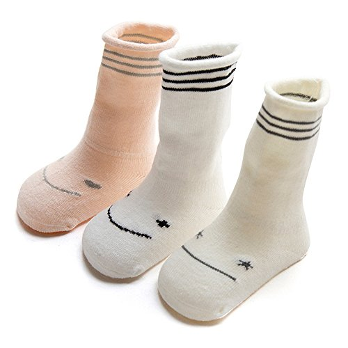 FQIAO Cute Cotton Unisex Baby Socks Long Tube Thick Warm And Soft Holders 3 Pack Gift for Newborn And Baby-XS 0-6 Months