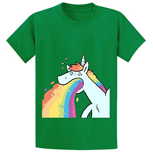 Andy Rainbow Unicorn Cute Youth Crew Neck Graphic T Shirt Green