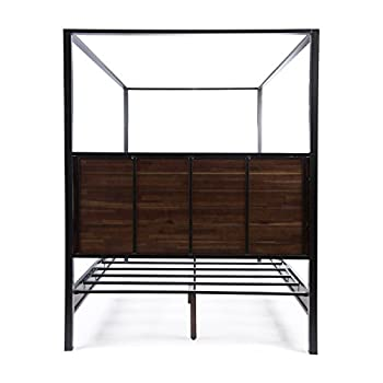 Great Deal Furniture Eatha Industrial Walnut Finished Acacia Wood Queen Size Canopy Bed with Black Metal Finished Iron Accents