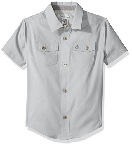 Calvin Klein Little Boys' Horizontal Chambray Short Sleeve Shirt, Light Grey, 7
