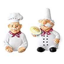 Kaimao Pack of 2 Power Cable Plug Hook Cartoon Chef Strong Wall Decor Stick Hooks for Home, Kitchen, Garden