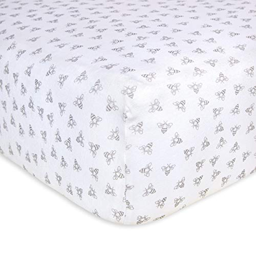 ORGANIC HONEYBEE PRINT CRIB SHEET HEATHER GREY BY BURTS BEES BABY