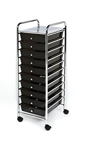 Seville Classics 10-Drawer Organizer Cart, Black (Frame Chrome Organizer Metal Mobile)