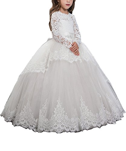 Pink Lace Up Long Sleeves Flower Girl First Communion Dresses Custom White ()