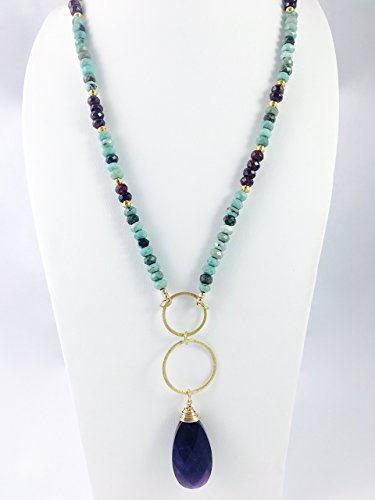 Necklace Garnet Amethyst (Amazonite and Garnet Necklace with Amethyst Pendant)