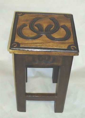 Horse Shoes Hand Carved Stool, End Table, or Plant - End Western