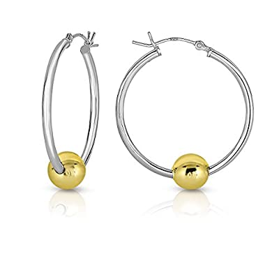 Ocean side Silver And Solid 14k Gold Balls Hoop Earrings. from Unique Royal Jewelry