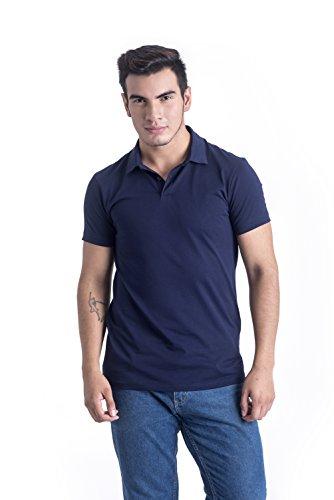 TRUTH ALONE Men's Polo, 100% Organic Peruvian Pima Cotton Jersey Navy