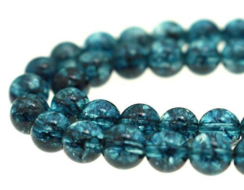 GoodBead 6mm Turquoise Blue Topaz Quartz Round Polished Beads 15.5