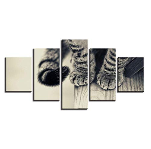 Mumuv Animal Prints Decoration Modern Home Living Room 5 Pieces Cat's Paw Paintings Posters Modular Canvas Pictures Wall Art-B 5 Piece Cats Paw