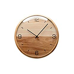 Driini Analog Dome Glass Wall Clock (12) - Pine Wood Frame with Two-Tone Wooden Face - Battery Operated with Silent Movement - Large Decorative Clocks for Classroom, Office, Living Room, or Bedrooms.
