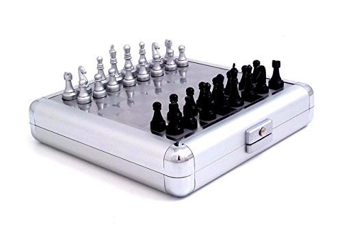 l 3 and 1 Chess, Checker and Backgammon Game Set in Silver Pearl Finish Case by Simple Luxuries (Executive Travel Chess)