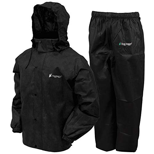 Frogg Toggs All Sport Rain Suit, Black Jacket/Black Pants, Size Large