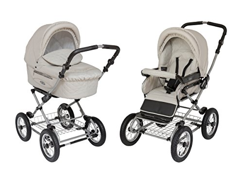Roan Kortina Classic 2-in-1 Pram Stroller with Bassinet for Newborn Baby and Toddler Reclining Seat with Five Point Safety System UV Proof Canopy and Stainless Steel Storage Basket (Natural Tan) by Roan