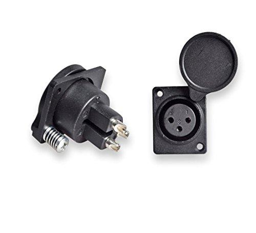 Conwork 2-Pack XLR Female Jack Panel Mount Socket Connector - Audio Speaker Jack Twist Lock 3 Pole