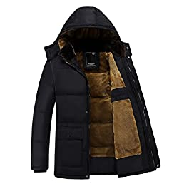 Sun Lorence Men's Hooded Thicken Velvet Wadded Jacket Warm Cotton Padded Down Coat