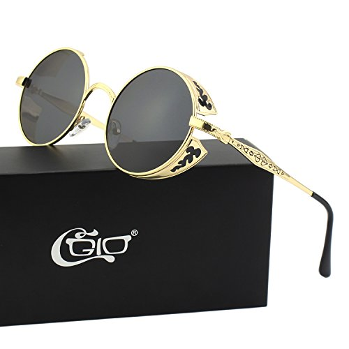 CGID E71 Retro Steampunk Style Inspired Round Metal Circle Polarized Sunglasses for (Steampunk Sunglasses)