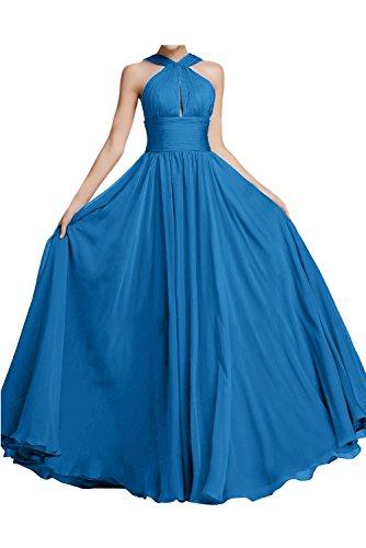 Halter Linie Traeger Neck Ballkleid Blau A aermellos Chiffon Rueckenfrei Ivydressing Abendkleid Festkleid Modisch zwei Bodenlang Falte Partykleid qOInF