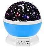 Romantic Rotating Star Moon Sky Rotation Night Projector Light Lamp-blue