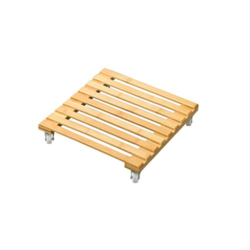 L;IAN Bamboo Flower Rack with Wheels, Square Plant Stand Indoor Outdoor Balcony Living Room Wooden Plant Pot Holder Flower Display (Size : Small) by L;IAN