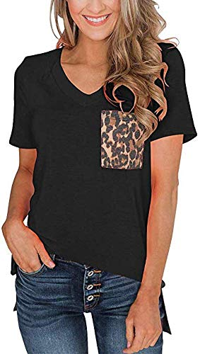 (Womens Short Sleeves Casual Loose V Neck T Shirts Basic Tops Leopard and Sequin Pocket Black S)