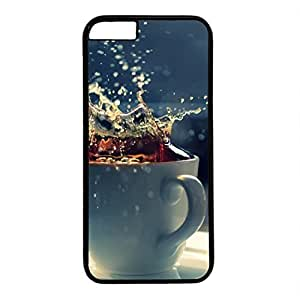 Hard Back Cover Case for iphone 6,Cool Fashion Black PC Shell Skin for iphone 6 with Splash In A Tea Cup