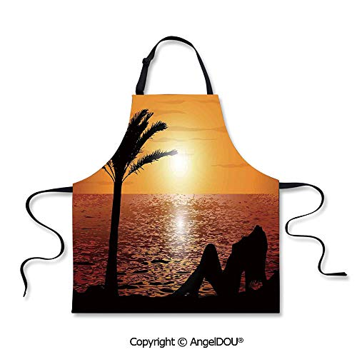 SCOXIXI Printed Unique Cool Kitchen Apron Silhouette of Lady and Palm Tree on Tropical Beach at Sunset Horizon Scenery Print for Kitchen Men Women use.]()