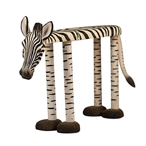 Zebra Hand-Carved Shoe Bench, Ottoman, Creative Footstool, Home Decoration, 60×40×20cm