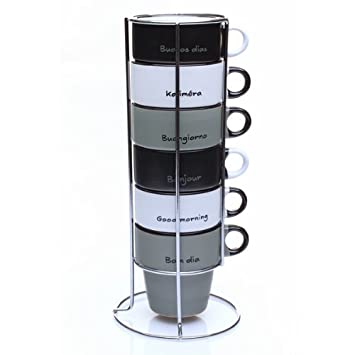 Maison Futée Rack De 6 Tasses Pour Café Cappuccino Bonjour