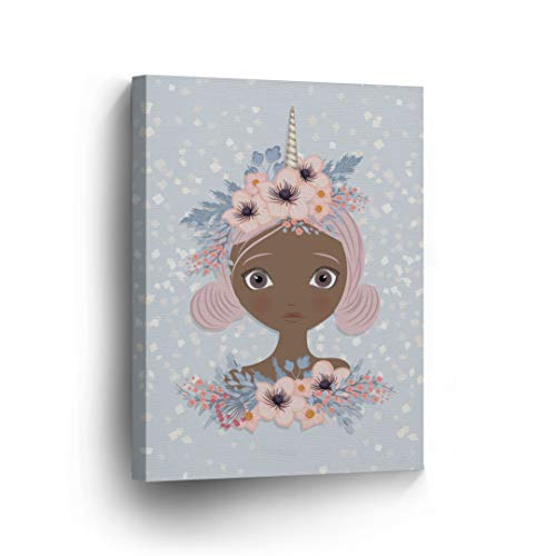 African American Wall Art Girl Unicorn Style Canvas Print Pink Decor Kids and Nursery Room Home Décor Wall Decoration Unicorn Gift Artwork Stretched Ready to Hang -%100 Handmade in The USA - 12x8 (African Art Work)