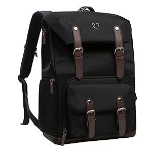 "BAGSMART Camera Backpack for SLR/DSLR Cameras & 15"" Macbook Pro with Waterproof Rain cover, Black"
