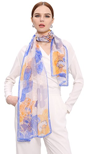 Grace Scarves 100% Silk Scarf, Oblong, Georgette, Floral Sketch, Blue/Orange - Blue Floral Georgette