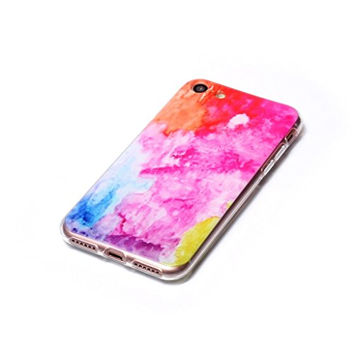 iPhone 7 Coque , Leiai Mode Ultra-mince Transparent Couleur Nuage Silicone Doux TPU Housse Gel Etui Case Cover pour Apple 7iPhone 7
