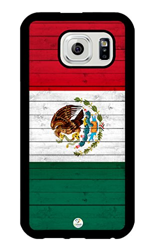 iZERCASE Samsung Galaxy S6 Case Mexican Flag on Wood RUBBER - Fits Samsung Galaxy S6 T-Mobile, AT&T, Sprint, Verizon and International