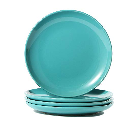 (CeramicHome Porcelain Salad Plate(7-Inch, 4-Piece), Stoneware Teal Blue Lunch/Dessert Plates Set for 4)