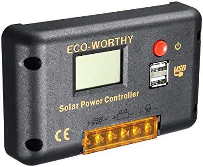 SCYDAO PWM Solarladeregler, 10A 20A 30A 12V 24V Auto Switch LCD Intelligent Panel-Batterieregler Laderegler Überlastschutz,20a