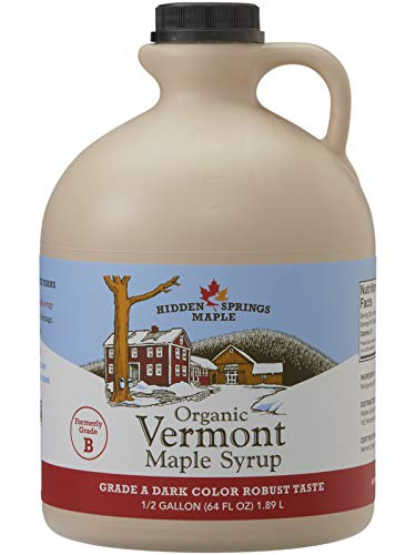 Hidden Springs Organic Vermont Maple Syrup, Grade A Dark Robust (Formerly Grade B), 64 oz, 1 Half gallon, Family Farms, BPA-free Jug