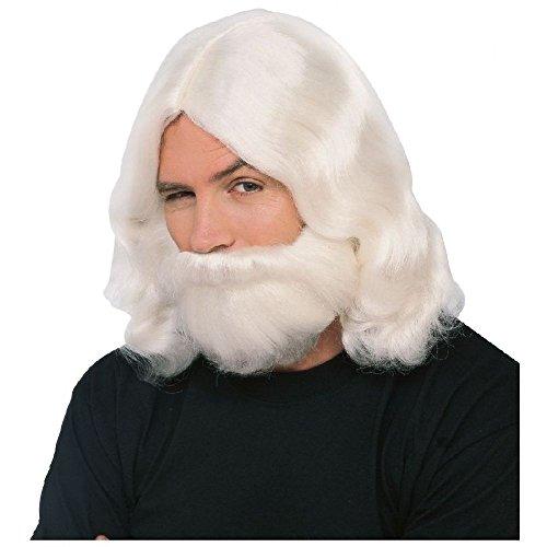 Biblical Wig & Beard Set Mens Moses Greek God Zeus Halloween Costume Fancy (Moses Wig And Beard Adult Costumes Set)