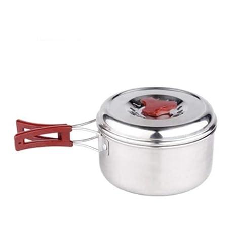AQWWHY Olla de Acero Inoxidable 1-2 Persona Conjunto de ollas Utensilios de Cocina al