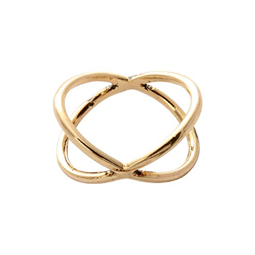 SENFAI 3 Colors Bijoux Thin Criss Cross X Rings for Women (Gold color)