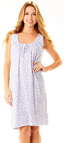 Womens Nightgown Sleeveless Cotton Pajamas - Sleepwear Nightshirt (L, (Sleeve Knee Length Nightgown)