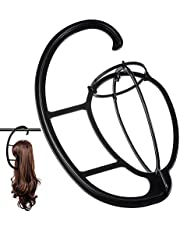 2 Pack Wig Hanger, Portable Hanging Wig Stand for All Wigs Long Hair and Hats Collapsible Display Holder Tool Wigs Dryer Durable Wig Stands Tool Holder (Black) …
