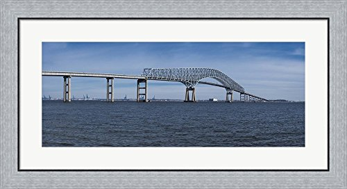 Bridge across a river, Francis Scott Key Bridge, Patapsco River, Baltimore, Maryland, USA by Panoramic Images Framed Art Print Wall Picture, Flat Silver Frame, 35 x 17 inches