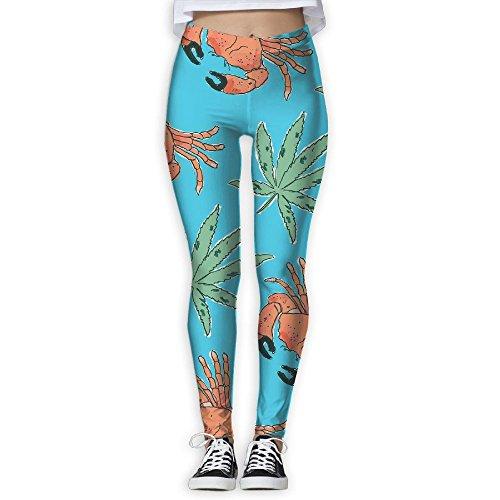 Yuotry Yoga Pants Stone Crab and Green Leaves Women Power Yoga Pants Tummy Control Workout Yoga Capris Pants Leggings XL